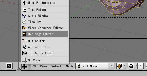 画面を「UV/Image Editor」へ変更してUV展開した結果を確認