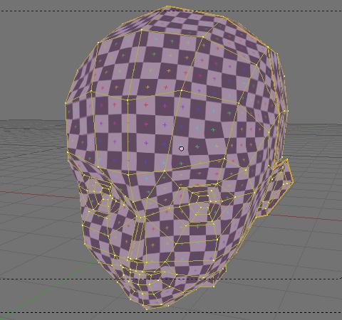 UV編集後の「UV Test Grid」を貼り込んだオブジェクト