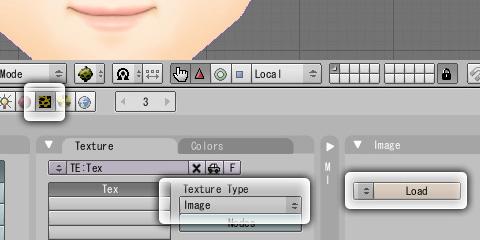 テクスチャ画像を読み込みオブジェクト上に貼り込む