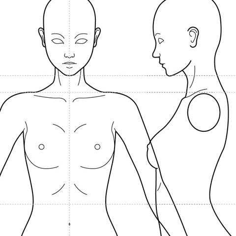 人体(女性)キャラクターのモデリング〈テンプレート用三面図〉