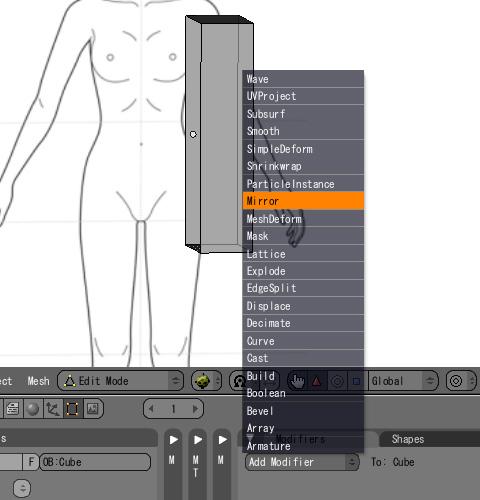 「Modifier」タブ内の[Add Modifier] > [Mirror]を選択