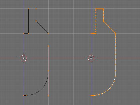 回転体の元となるアウトラインをベジェ曲線で作成