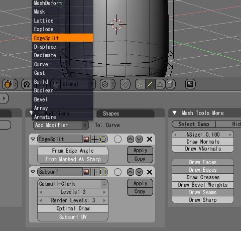 EdgeSplitモディファイヤによる鋭角の設定方法〈モディファイヤの作成〉