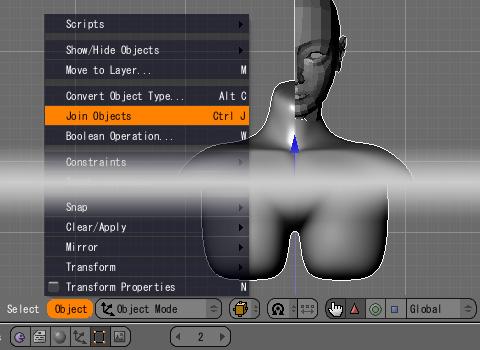 顔と胴体を[Join Object(Ctrl+Jキー)]で結合