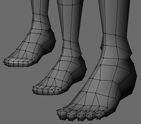 足の先を5つに分割し各指毎に押し出し