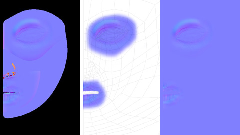 書き出されたノーマルマップ情報をPhotoshop等で加工