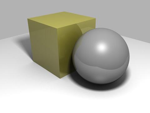 立方体と球体、それらの影以外は透明にする