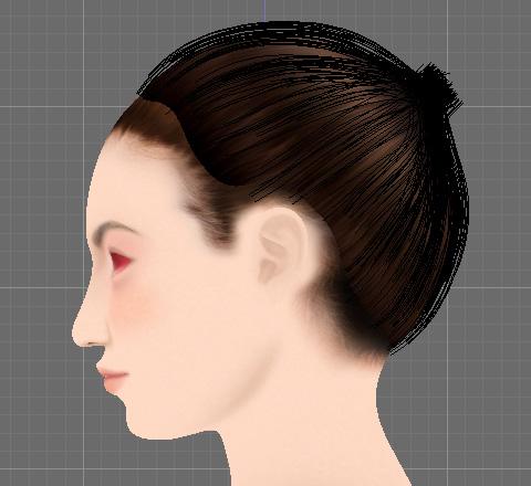 Particle Modeで結び目にヘアーが集まるように編集