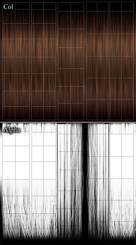 「Col」カラーマップ用、「Alpha」透明マップ用のテクスチャ