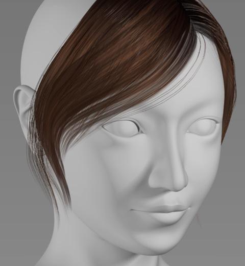 短冊形状ポリゴン&パーティクル・ヘアーの前髪レンダリング見本