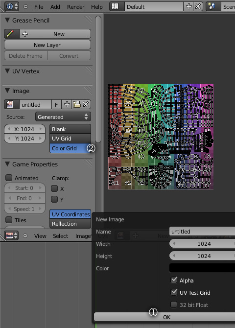 カラーの「UV Test Grid」配置手順