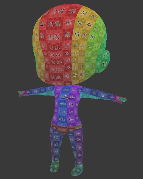 カラーの「UV Test Grid」配置見本