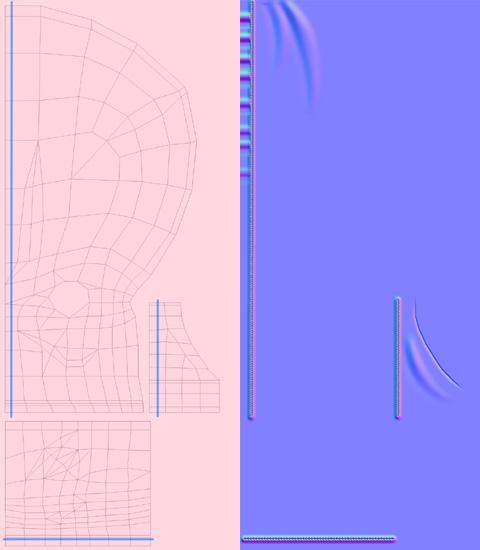 Diffuse(ディフューズカラー)マップとNormal(法線)マップ