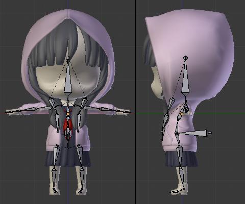髪の毛・セーラー服のタイに対応するボーンを追加