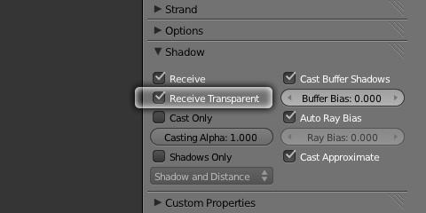 ShadowパネルReceive Transparentを有効にする