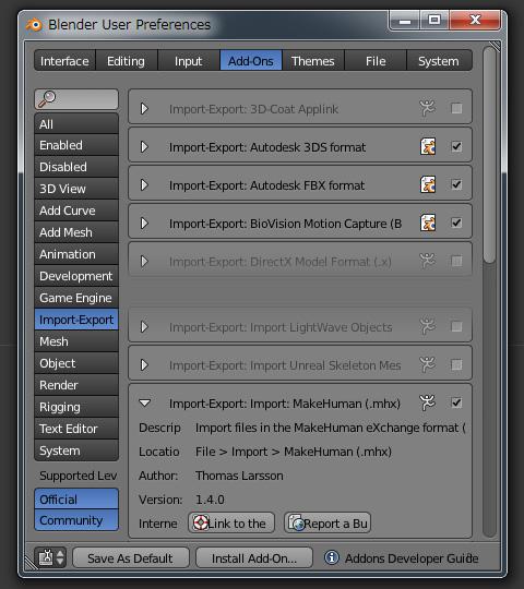 mhx形式をインポートするアドオン[Import : MakeHuman]バージョン1.4