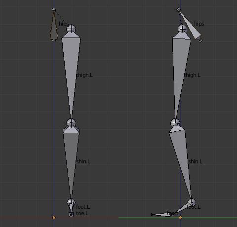 腰からつま先までの左足のみを使用