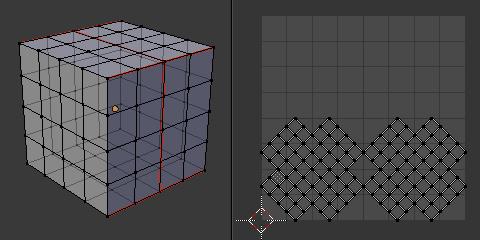 Cubeを[Unwrap]でUV自動展開