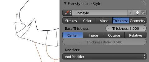 FreesyleLineStyleパネルのThicknessで太さを設定
