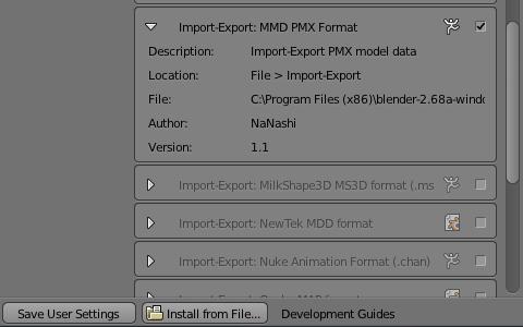 アドオン「MMD PMX Format」を有効にする