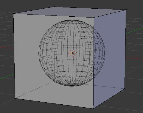 同一オブジェクトとして立方体と球体を用意