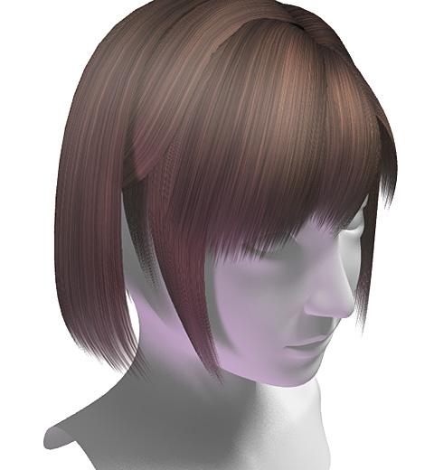 ライブラリ素材「頭髪(茶)」を使用した髪の毛(のっちボブ)の完成