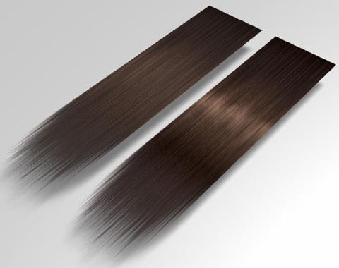既存の表面材質「頭髪(茶)」とテクスチャ画像を変更したモノの比較