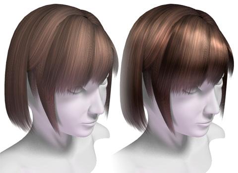 既存の表面材質「頭髪(茶)」とテクスチャ画像を変更したモノの仕上がり比較