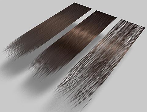 既存の表面材質「頭髪(茶)」、テクスチャ画像を変更したモノ、透明マップ&バンプマップを変更したモノ