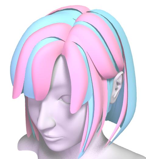 前回までに作成した髪の毛がブルー部分、今回用意したの密度の少ない髪の毛がピンク部分