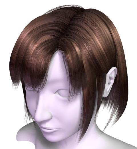 密度の少ない髪の毛を足した状態のレンダリング画像