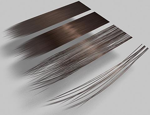 既存の表面材質「頭髪(茶)」、テクスチャ画像を変更したモノ、透明マップ&バンプマップを変更した髪密度の異なる2種類