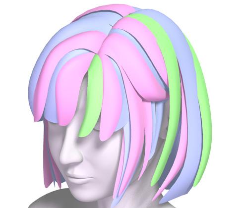 アクセントとして使用する最も密度の少ない髪の毛がグリーン部分
