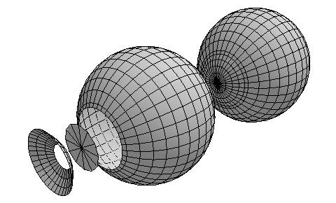 角膜・強膜・虹彩・瞳孔の計4つのパーツに分けてモデリング