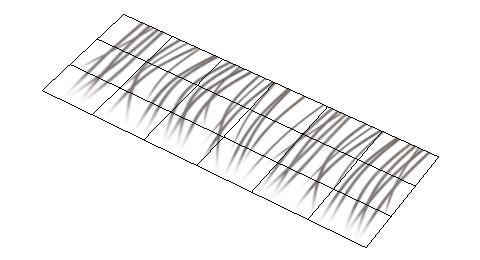 短冊形状の平らなポリゴンに対して先に表面材質の設定