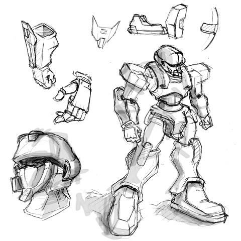 メカ(オリジナルロボット)制作にあたってのラフ画