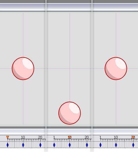各フレームでの球体の位置を確認