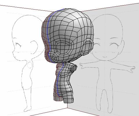 ねんどろいど風二頭身キャラクター〈頭部&体 完成〉
